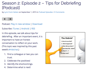 Are we debriefing our work?